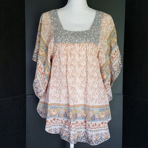 BOHO peasant blouse linen light airy gorgeous!